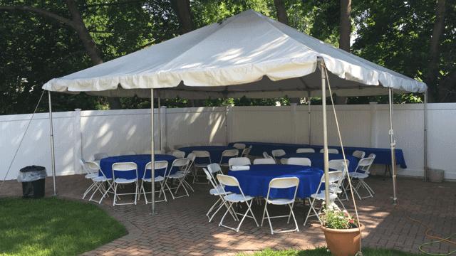 backyard patio tent rental setup