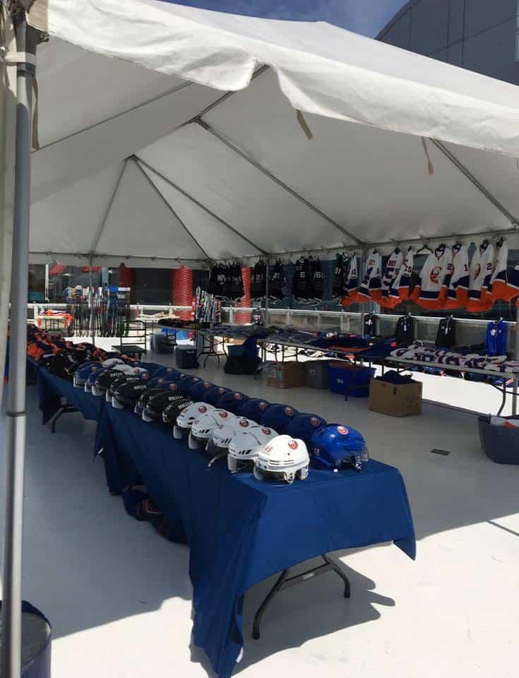 ny islanders event setup at nassau colliseum
