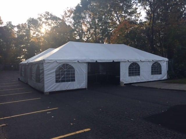 parking lot tent rental setup