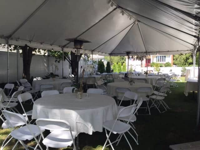 party tent rental in backyard