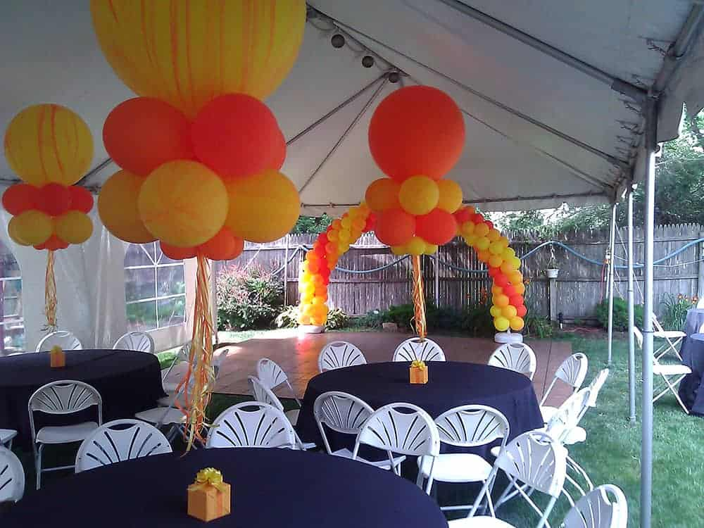 spring tent event set-up