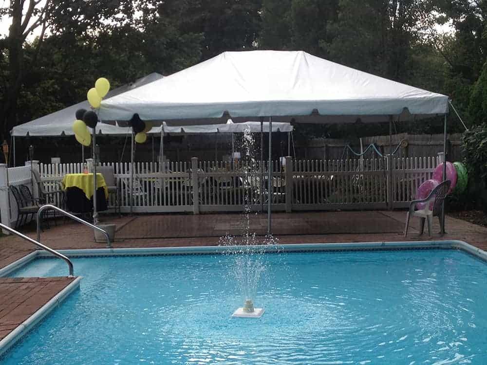 tent setup near pool