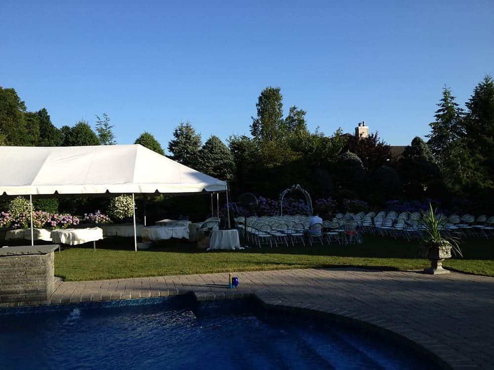 wedding chairs and tent setup