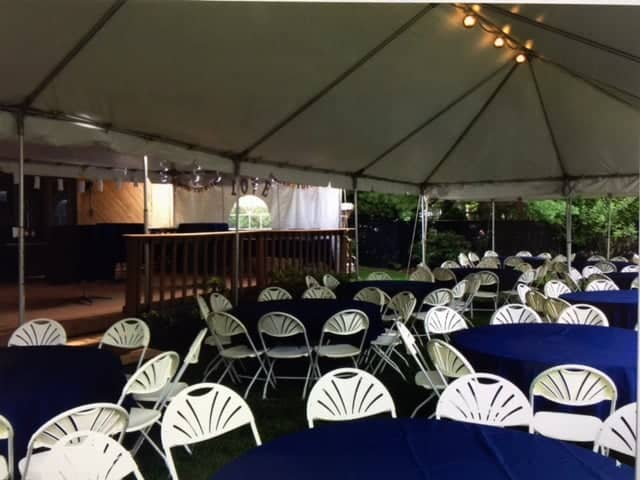 blue linen outside tent setup