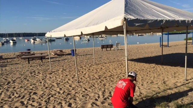 corporate tent set-up on beach