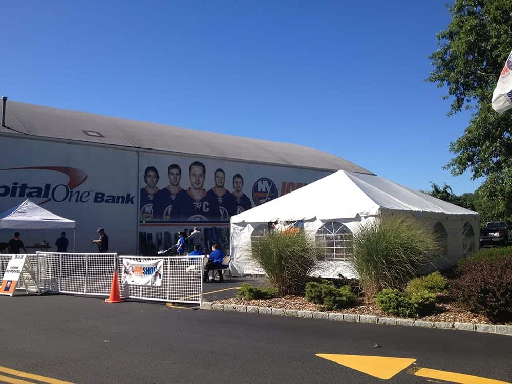 corproate tent rental setup at Islanders facility