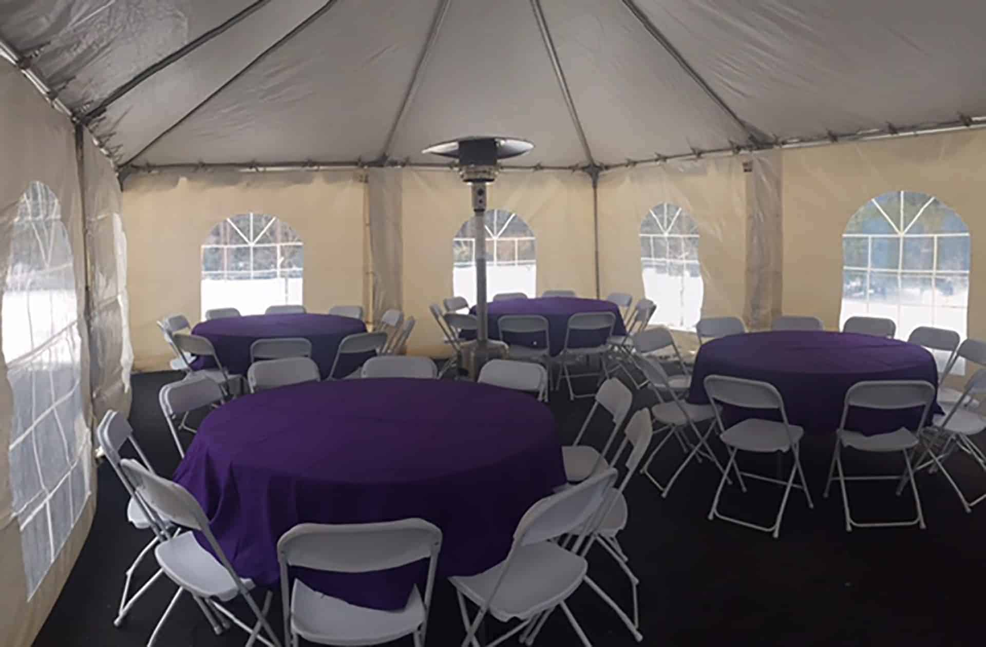 purple linen heated tent rental
