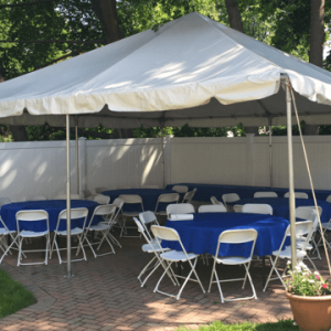 backyard patio tent rental setup