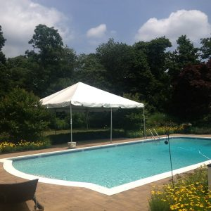 tent setup near pool